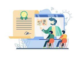 conceito de e-certificado gratuito de cursos online vetor