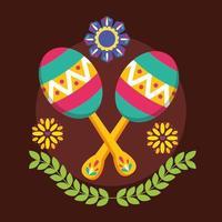 desenho vetorial de maracas mexicanas vetor