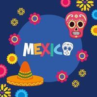 chapéu mexicano e desenho vetorial de caveira vetor