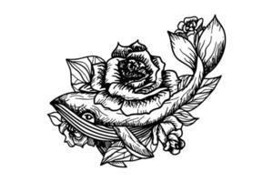 ilustração vetorial desenhada à mão de baleia e flores rosas vetor