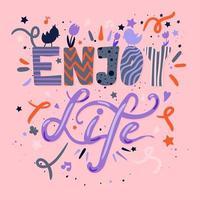 aproveite a vida letras coloridas desenhadas à mão vetor