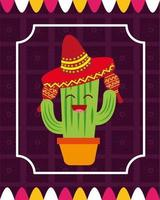 desenho vetorial de cacto mexicano vetor