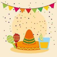 chapéu sombrero mexicano e desenho vetorial de maracas vetor