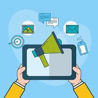tecnologia de marketing digital com tablet vetor