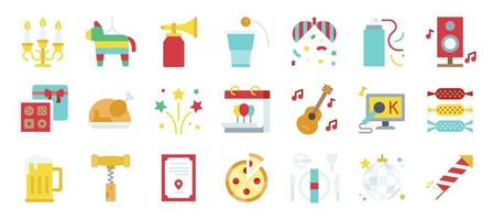 conjunto de ícones planos de elementos de festa de ano novo vetor