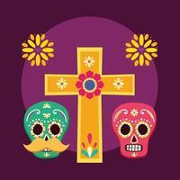 desenho vetorial de caveiras mexicanas vetor