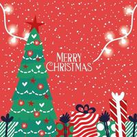 cartão de feliz natal com pinheiro e presentes vetor