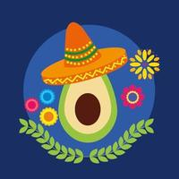 abacate mexicano com desenho vetorial de chapéu vetor