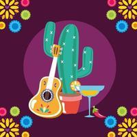 guitarra mexicana e desenho vetorial de cactos vetor