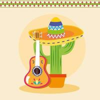 cacto mexicano e desenho vetorial de guitarra vetor