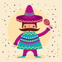 desenho vetorial mexicano homem vetor