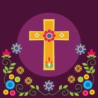 cruz mexicana e desenho vetorial de flores
