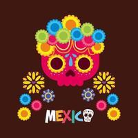 desenho vetorial de caveira mexicana vetor