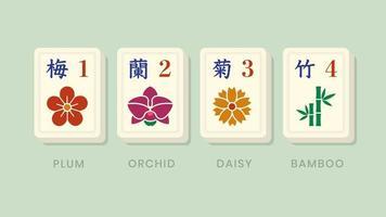 telhas de ícone de flor de bônus mahjong vetor