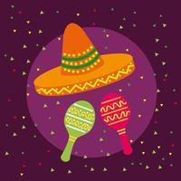 desenho vetorial de chapéus de maracas e sombrero mexicanos vetor