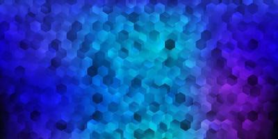 layout de vetor rosa escuro, azul com formas de hexágonos.