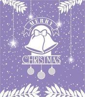 cartão de feliz natal com sinos pendurados vetor