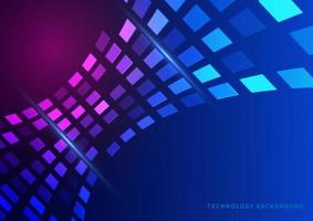 abstrato tecnologia conceito padrão quadrado geométrico perspectiva futurista em fundo azul escuro. vetor