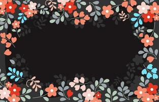 fundo floral simples com espaço preto em branco vetor