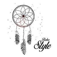 mão desenhada estilo boho em círculo decorativo com penas. vetor