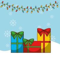 cartão de feliz natal com presentes vetor
