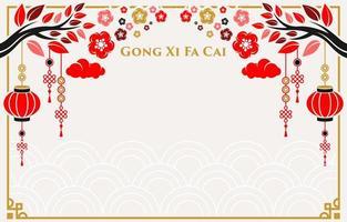 fundo de ornamento chinês de design plano simples vetor