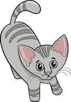 bonito gato malhado ou gatinho personagem de desenho animado animal