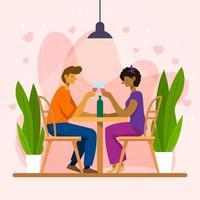 casal fofo vai jantar no dia dos namorados e namorar vetor