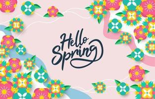 papel de parede de primavera com flores coloridas vetor