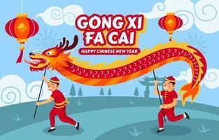 gong xi fa cai com conceito de dança de dragão vetor