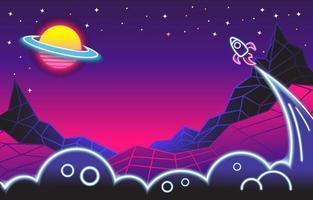 espaço de néon retro na galáxia vetor