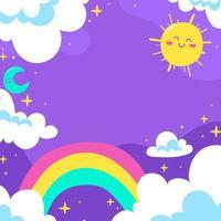 fundo arco-íris fofo vetor