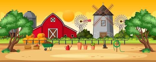 paisagem de fazenda rural pôr do sol vetor