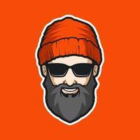 homem barbudo com mascote de óculos de sol vetor