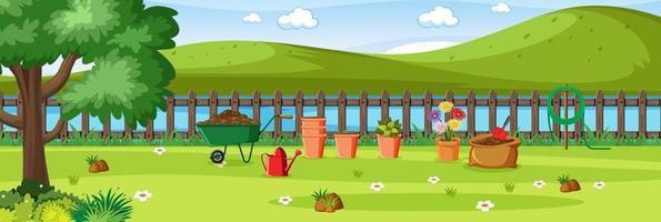 cena do jardim rural ao ar livre vetor