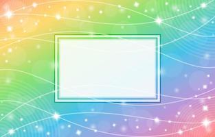 fundo gradiente de arco-íris com composição de moldura e padrão de onda