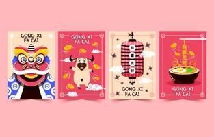 coleção de cartões de desenho animado do ano novo chinês vetor