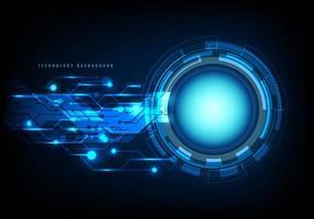 círculo azul de tecnologia abstrata, feixe de luz e padrão de circuito no conceito de comunicação de alta tecnologia de fundo escuro