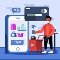 conceito de compras sem contato de autoatendimento vetor