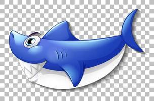 sorridente personagem de desenho animado de tubarão fofo isolado em fundo transparente vetor