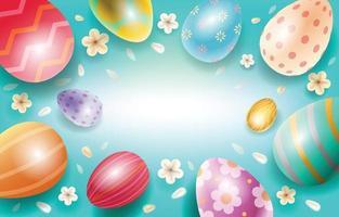 modelo de fundo de ovos de páscoa coloridos vetor