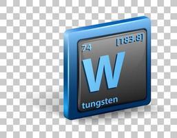 elemento químico de tungstênio. símbolo químico com número atômico e massa atômica. vetor