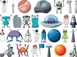 conjunto de objetos espaciais e elementos isolados no fundo branco vetor