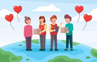 voluntários coletando doações para caridade vetor