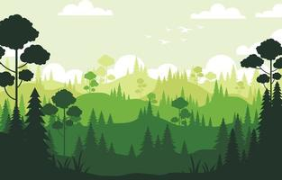 fundo de silhueta de floresta de pinheiros verde vetor