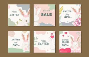 coleção de postagens de redes sociais de coelho da páscoa vetor