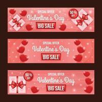 elegante banner vermelho de venda do dia dos namorados com decoração de coração e presente