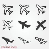 ícone de avião em fundo branco, vetor de ícone de avião. símbolos de aeronaves de ícone plano