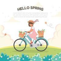 andar de bicicleta pelas colinas durante a primavera