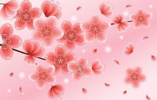 lindas flores de cerejeira rosa gradiente vetor